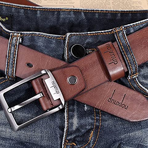 Men's Waistband Leather Belts Trousers Pin Buckle Waist Strap Fashion, 100% brand new &(Brown) (Allen Edmonds Belt 50)