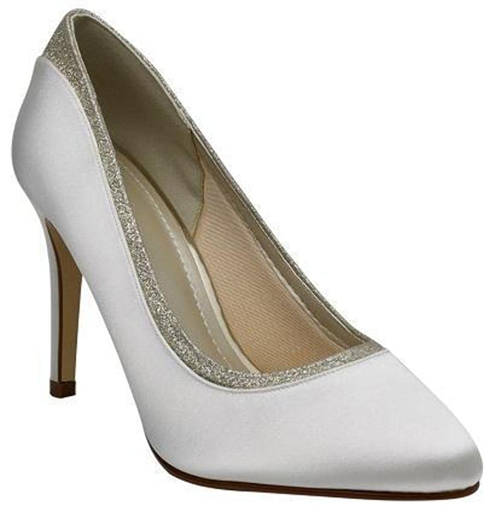 a7ed6011144 Rainbow Club Stevie - Ivory Satin Low Heel Pumps Flat Bridal Shoes   Amazon.co.uk  Shoes   Bags