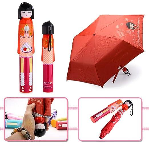 Amazon.com: Katoot@ Girls Women Japanese Doll red wine bottle umbrella foldable rain sun umbrellas rain women paraguas paraguas infantil parapluie (Blue): ...