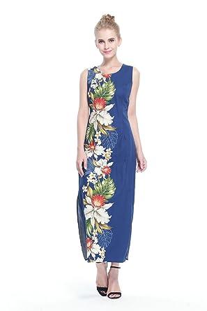 Made In Hawaii Womens Hawaiian Luau Long Tank Dress In Navy Side Orchid S