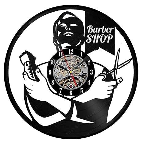 WANGXN Reloj de Vinilo Secador de Pelo Tijeras Peine Peluquero Negro Regalo Decorativo para peluquería Tienda