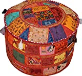 Navya Creations Bohemian Patch Work Pouf Ottoman,traditional Vintage Indian Pouf Floor Stool/foot Stool, Christmas Decorative Chiar Ottoman Cover,100% Cotton Art Decor Cushion Cover Pouf
