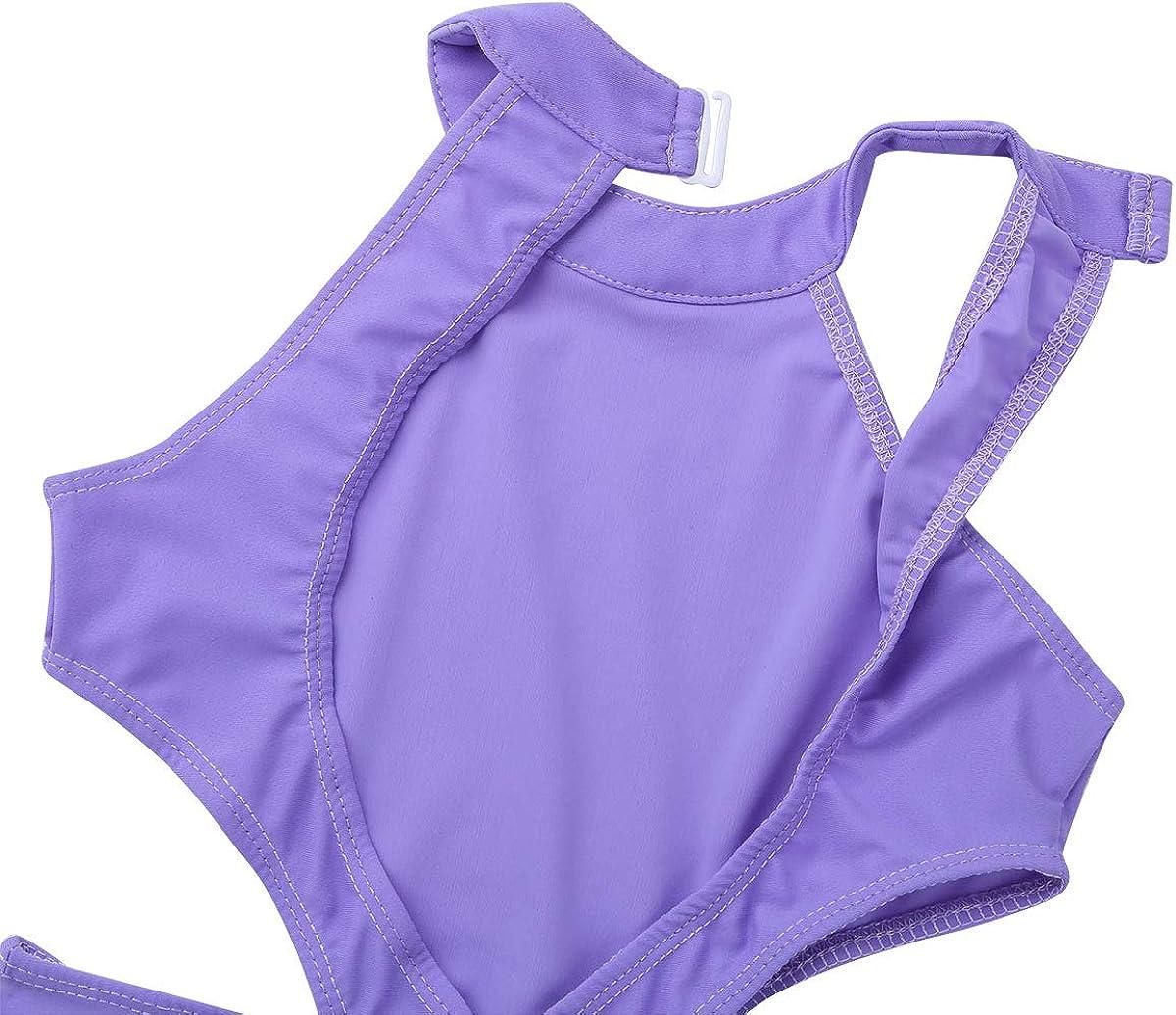 renvena Kids Girls Ballet Dance Gymnastic Active Leotard Sleeveless Halter Cutouts on Waist Backless Unitard Bodysuit