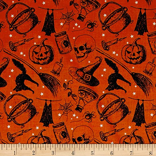 (Windham Fabrics 0490074 Eat, Drink & Be Scary Witches Brew Orange Fabric by The Yard)