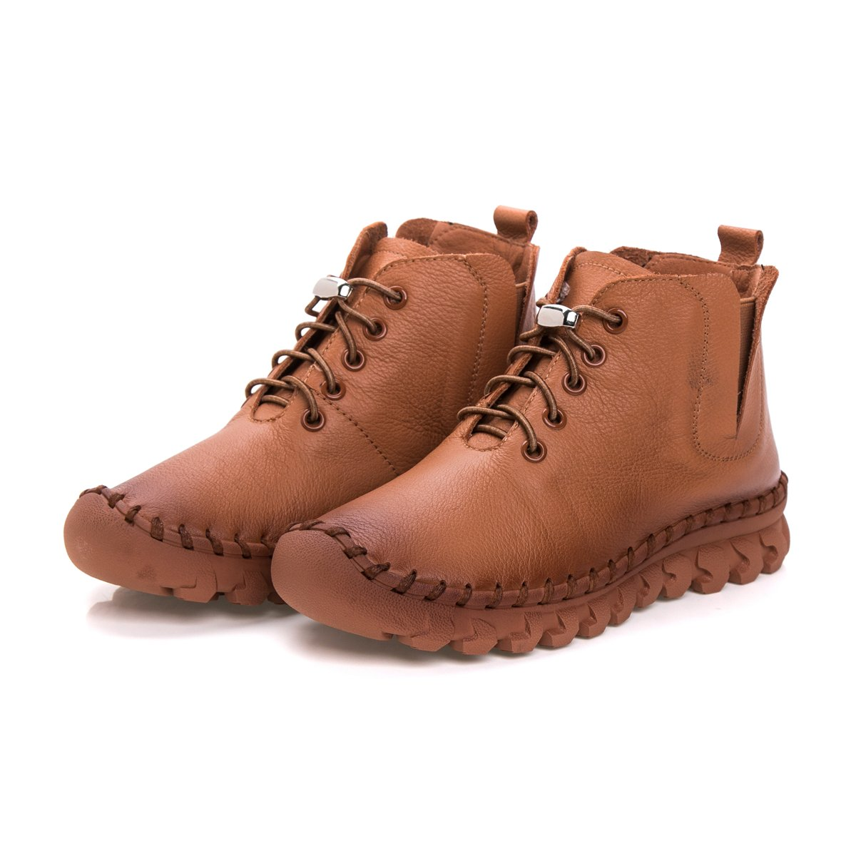 Antiordin Women's Calf Leather Booties Flat Ankle Boots US|Velvet Shoes B0756CYCGX 8.5 B(M) US|Velvet Boots Black 99c73a