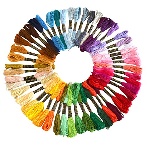 Soledi Cross Stitch Floss 50 Skeins Premium Rainbow Color Em