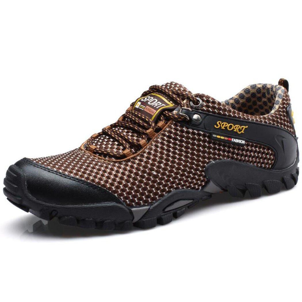 GAOLIXIA Malla transpirable de los hombres Zapatillas de deporte de verano Casual Zapatos antideslizantes de senderismo al aire libre Zapatos de fitness Ligero A pie Corriendo Entrenadores ( Color : Light brown , tamaño : 41 ) 41|Light brown