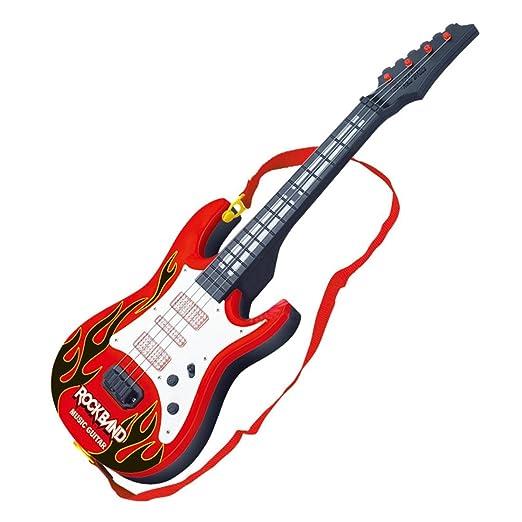 MRKE Guitarra Electrica Niños 4 Cuerdas Guitarra Juguete con Luces y Música: Amazon.es: Juguetes y juegos