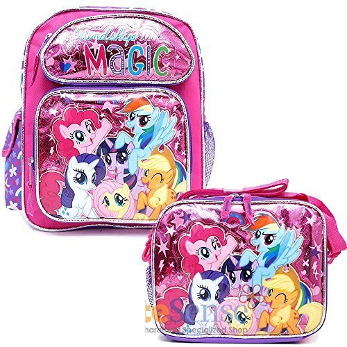 My Little Pony 16 School Backpack Lunch Bag 2pc Girls Bag Set - Magic Friends Forever