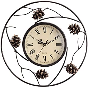 "SPI Home Pinecone Wall Clock, White, 2.5"" x 12.5"" x 12.5"""