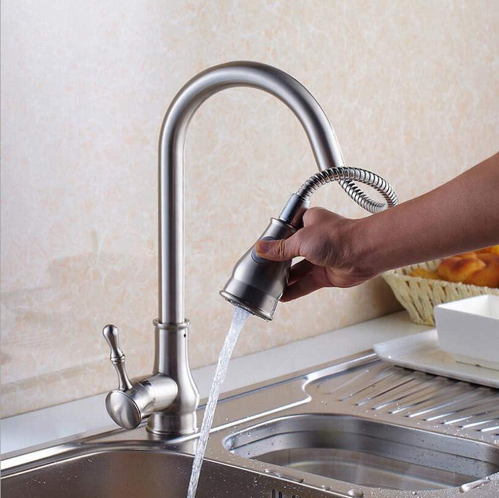 Negro Dorado Cromo Mástil de níquel Resorte Extraíble Grifo de la cocina Sola manija Grifo de agua fría y caliente Grifo del fregadero de la cocina, Níquel cepillado