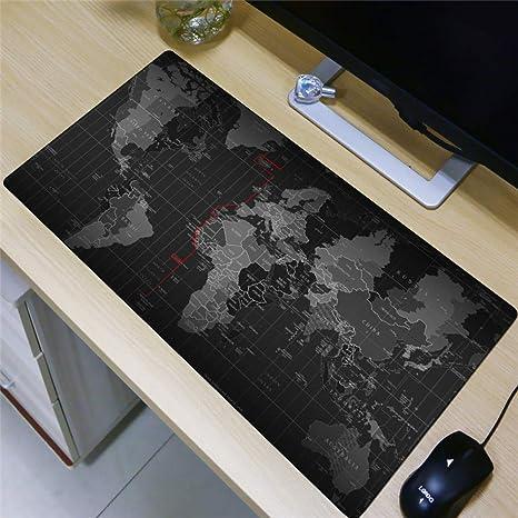 AUUUA alfombrilla de ratón 80X30Cm Alfombrilla De Ratón Grande Mapa Del Mundo Tierra Arte Decoración Cojín De Mesa Mapa Del Mundo Xl Mousepad Juego De Caucho Natural: Amazon.es: Videojuegos