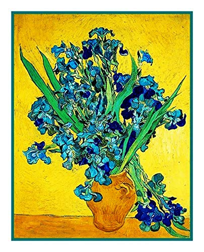 (Orenco Originals Vase of Irises Yellow Background Van Gogh Counted Cross Stitch Pattern)