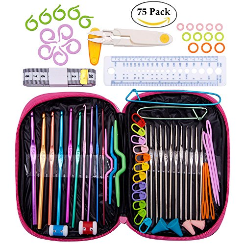 75pcs Crochet Hooks Set with Case, Aluminum Handle Crochet Hooks Yarn Knitting Needles Weave Locking Stitch Markers Gauge Ruler Scissors Split Ring Accessories for Mom Girls Kids Beginner Gifts