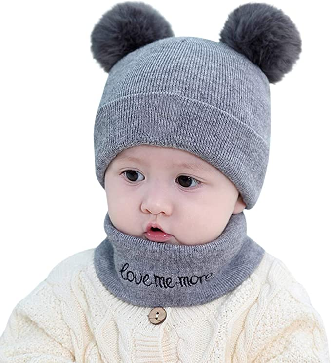 2pcs Baby Winter Hat Scarf Set-Infant Toddler Baby Girls Boys Knit Warm Pom Cap /& Scarf Neck Warmers Suit