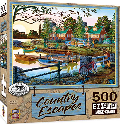 Masterpieces Ezgrip Country Escapes Linen Jigsaw Puzzle, Away from It All, Featuring Art by William Kreutz, 500Piece