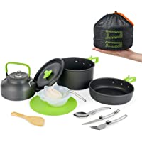MEETSUN Camping Cookware Portable Outside Camping Cooking Set Mess Kit 12 Piece Cookset with Flat-Bottomed Non-Stick Pot…