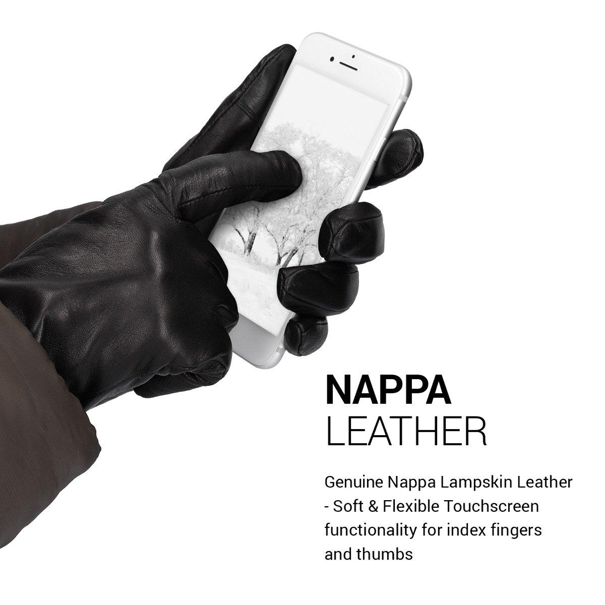 L Nero Navaris Guanti Capacitivi Touchscreen Donna in Vera Pelle con Fodera Cashmere Lana Guanti in Nappa Touch Screen per Smartphone Tablet