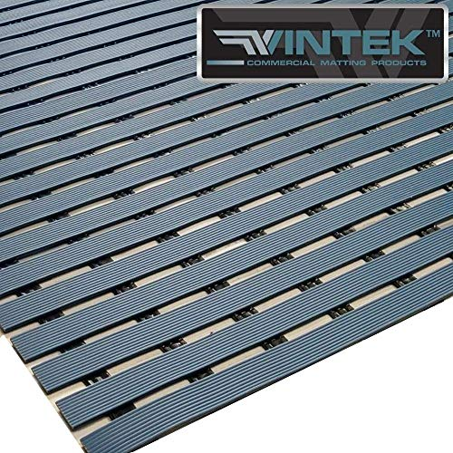 VinTread Mat Vinyl Wet Area Floor Matting for Swimming Pool Shower Sauna Spa Bath Tub Bath Splash Matting Water Drain Wet Flooring Anti-Slip Indoor/Outdoor by VinTek (3' x 2', Blue)
