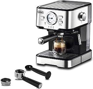Gevi Espresso Machines 15 Bar with Milk Frother Wand Expresso Coffee Machine for Cappuccino, Latte, Mocha, Machiato, 1.5L Removable Water Tank, Double Temperature Control System, 1100W, Black