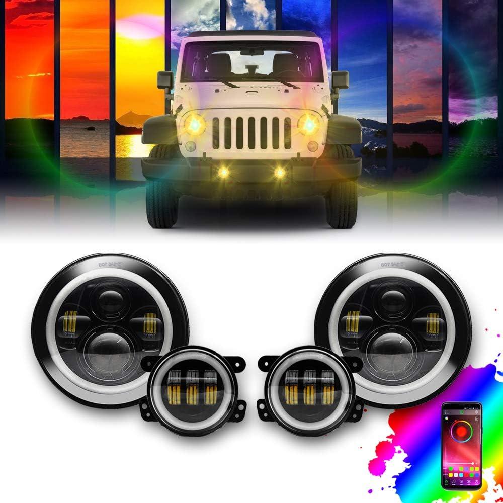 "7/"" Round LED Headlight Headlamp Hi//Low Angle Eye For SUV Jeep Wrangler JK LJ TJ"