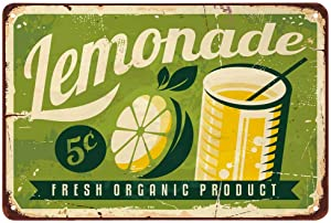 AOYEGO Lemonade Tin Sign,Fresh Fruit Drinks Lemon Bubbles Vintage Metal Tin Signs for Cafes Bars Pubs Shop Wall Decorative Funny Retro Signs for Men Women 8x12 Inch