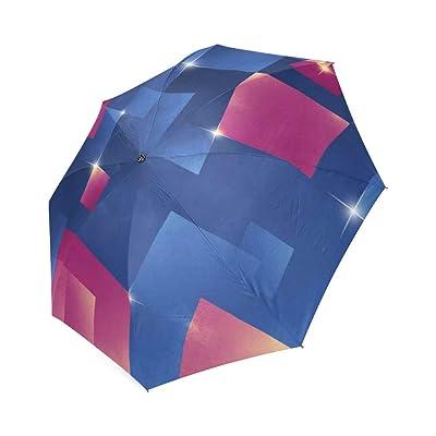 Customized Unique Pink and Blue Cubes Folding Rain Umbrella/Parasol/Sun Umbrella