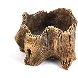 Vintage Beton Blumentopf, grob die Nachahmung Keramik Holz Baumstumpf Form Design Creative Sukkulente Übertopf Töpfe, D, 8*8*6cm