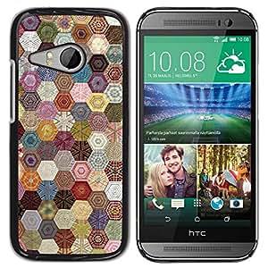 Paccase / SLIM PC / Aliminium Casa Carcasa Funda Case Cover para - Hexagonal Pattern Sewing Fabric - HTC ONE MINI 2 / M8 MINI