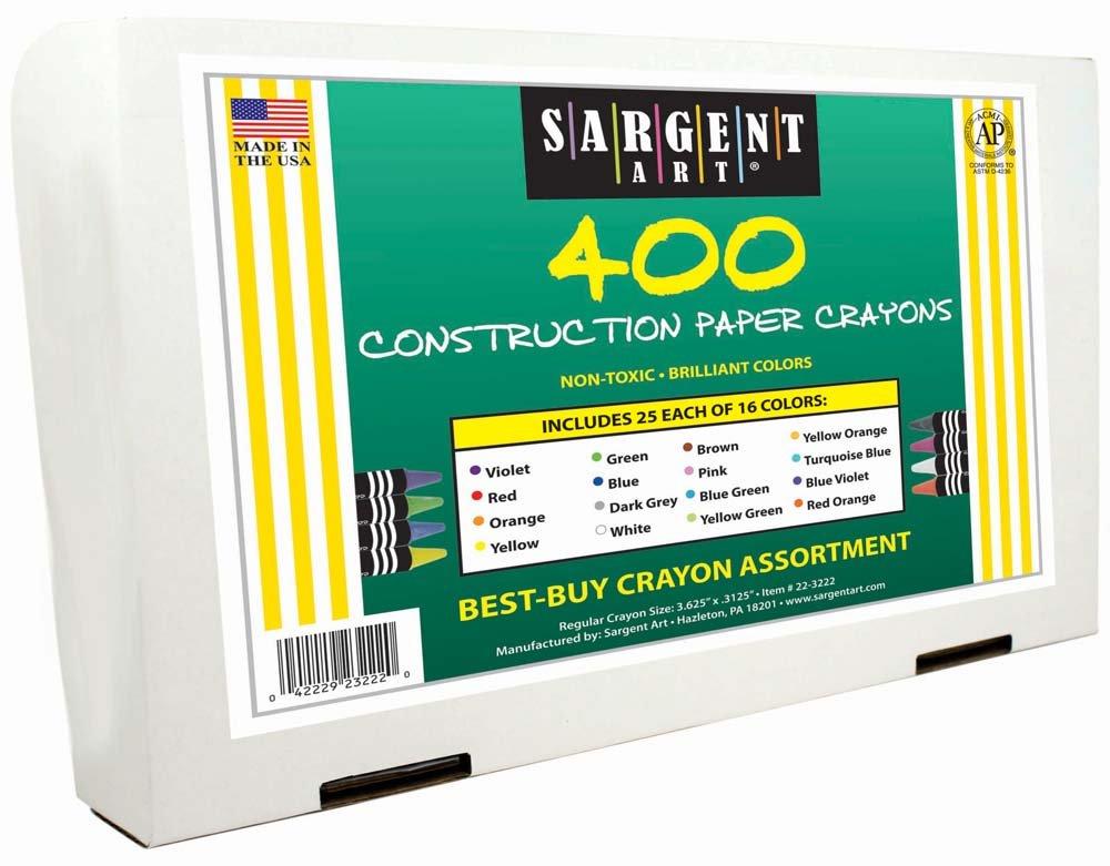 Sargent Art 400-Count Construction Paper Crayon Class Pack, Best Buy Assortment, 16 Colors, 22-3222