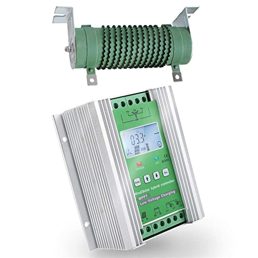 SolaMr 1000W MPPT Controlador de Carga Híbrido Solar Eólico 400W Solar y 600W Energía Eólica Controlador Híbrido de Carga 12V/24V Sistema de Identificación Automática de Voltaje