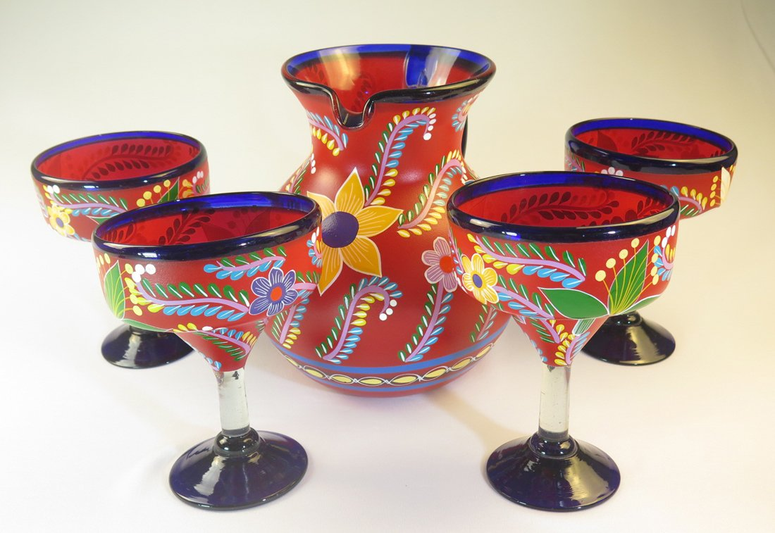 Mexican Margarita Glasses and Pitcher, Hand Blown, Hand Painted, Red with various flowers, 14 Oz,Set of 5