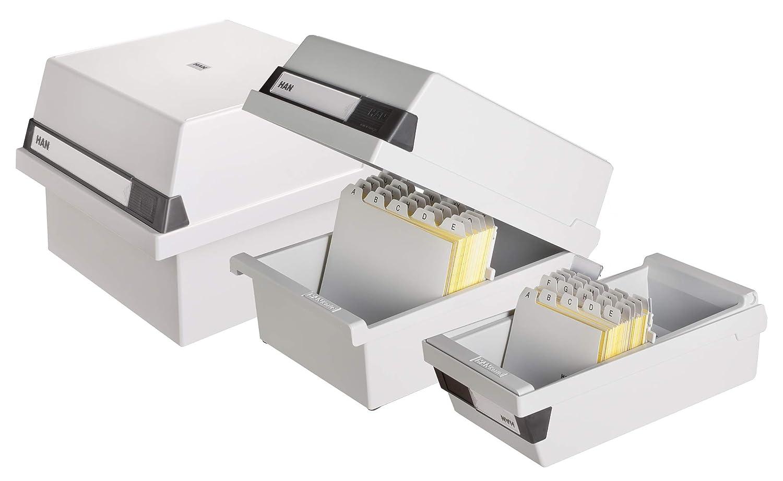 Han 965-11 - Cajón para tarjetas (capacidad para 800 tamaño tarjetas, tamaño 800 A5 horizontal, 235 x 190 x 250 mm), color gris 63c3cf