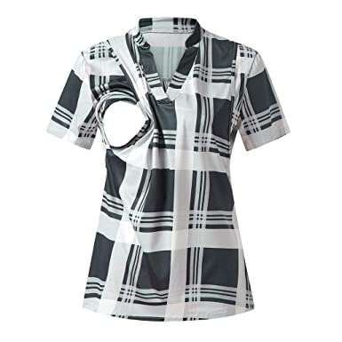 cce7aa518933 Nursing Tops Women s Summer Shirts Short Sleeve Maternity T Shirts Plaid  Breastfeeding Pullover Blouse Double Layer