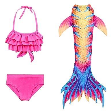 8472e9eca4 Kids Girls Swimsuit Cosplay Halter Ruffled Mermaid Tail Swimming Costumes  Bikini Set: Amazon.co.uk: Clothing