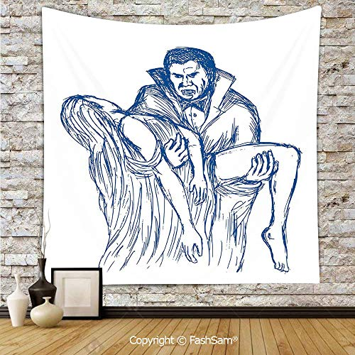 FashSam Polyester Tapestry Wall Count Dracula in Cape Carrying His Prey Victim Woman Sketchy Halloween Artwork Hanging Printed Home Decor(W59xL90) -