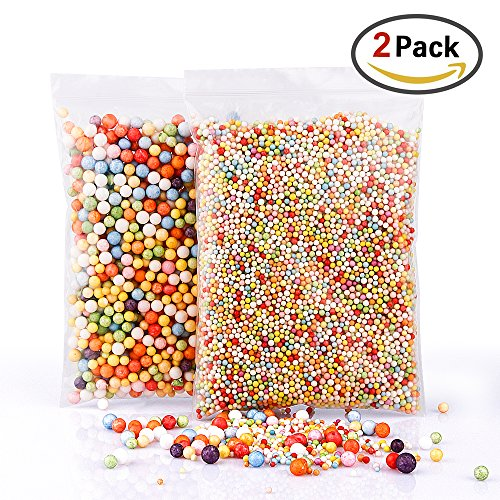 BASEIN Foam Beads for Slime, 2 Pack Rainbow Foam Beads Styrofoam Balls 0.1-0.35 Inch Slime Foam Balls for Kids Fits for Wedding/Party Decoration, Arts and Crafts (Rainbow Foam)