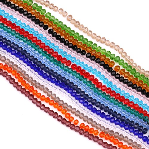 YUANZHIRUN Wholesale Facetd Glass Crystal Beads Strand 15 Colors 2100pcs 4MM Briolette Rondelle Crystal Beads Spacer for Jewelry ()