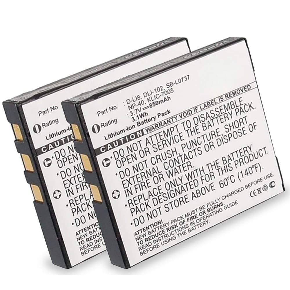 CELLONIC 2X Bater/ía Premium Compatible con Pentax Optio S6 S7 S5i S5z S5n S4 S4i S SV SVi WP WPi W10 W20 A10 A20 A30 A36 A40 Optio X T20 T10 E65 Optio L20 D-LI8 D-LI85 850mAh bateria Repuesto Pila