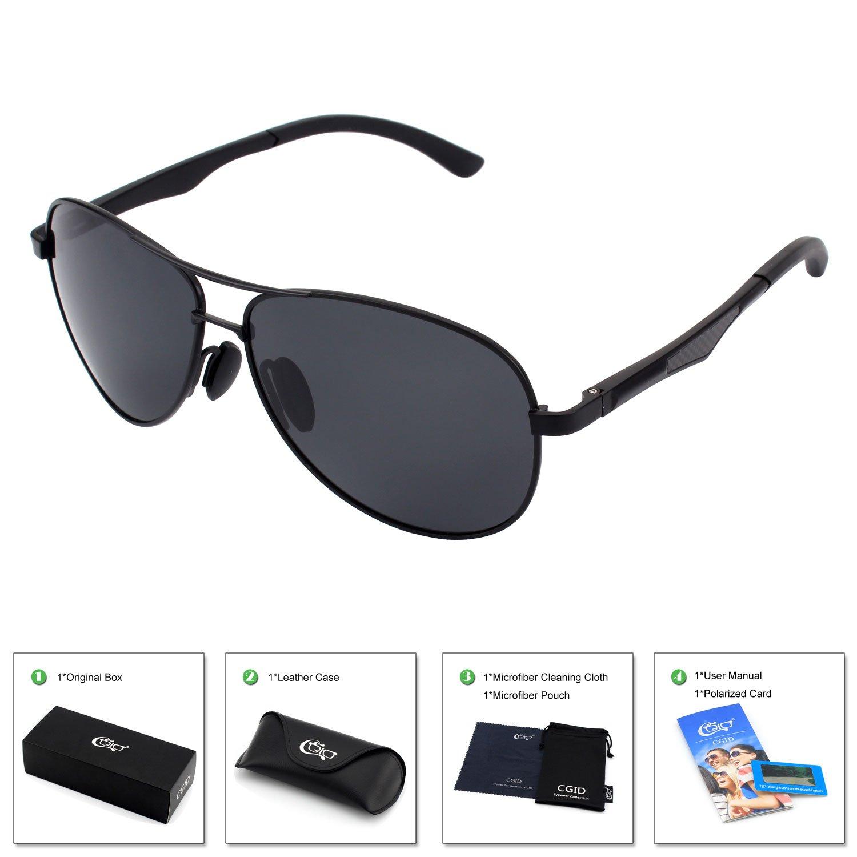 Sonnenbrille Herren Pilotenbrille Polarisiert UV Schutz Aviator Brille mit Metallrahmen Silber XwdEg