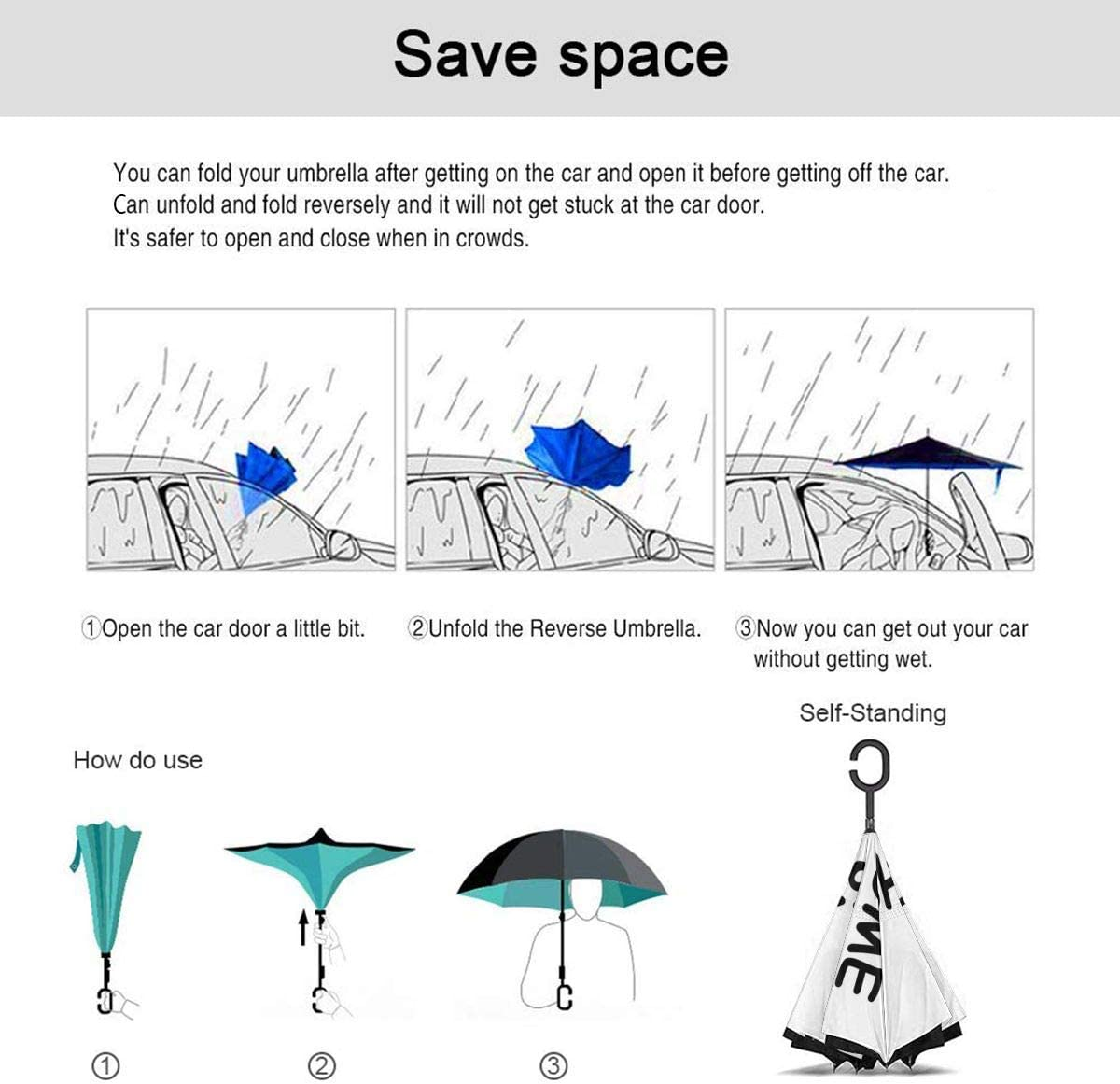Vector Tie Dye Seamless Pattern Double Layer Windproof UV Protection Reverse Umbrella With C-Shaped Handle Upside-Down Inverted Umbrella For Car Rain Outdoor