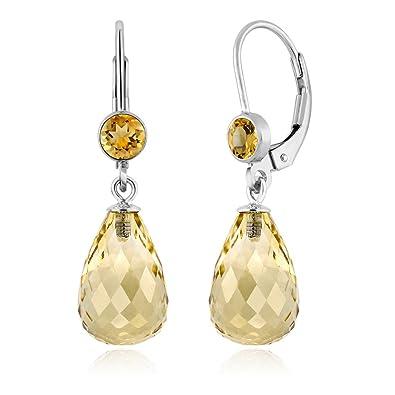 25fbf34d1e7c1 Gem Stone King 925 Sterling Silver Briolette Citrine Women's Drop Earrings  10.00 Ctw Gemstone Birthstone