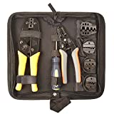IWISS Crimping Tool Kits Suitable for Non-insulated & Insulated Cable End-sleeves Terminals or Ferrules with 5 Changeable Die Sets in Oxford Bag with Wire Stripper and Cable Cutter