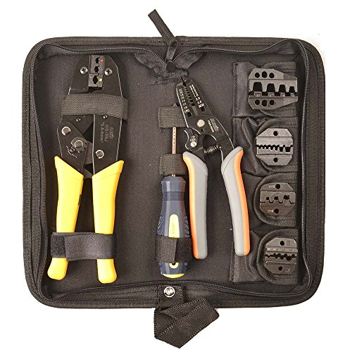 Crimper Set (IWISS Crimping Tool Kits Suitable for Non-insulated & Insulated Cable End-sleeves Terminals or Ferrules with 5 Changeable Die Sets in Oxford Bag with Wire Stripper and Cable)
