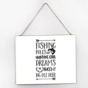 Fishing Poles Sign Inspirational Wall Art, Inspirational Signage, Wooden Signs for Home Decor Kitchen Bathroom, Wooden Frame Wall Hanging Sign 10x12x0.2 Inch