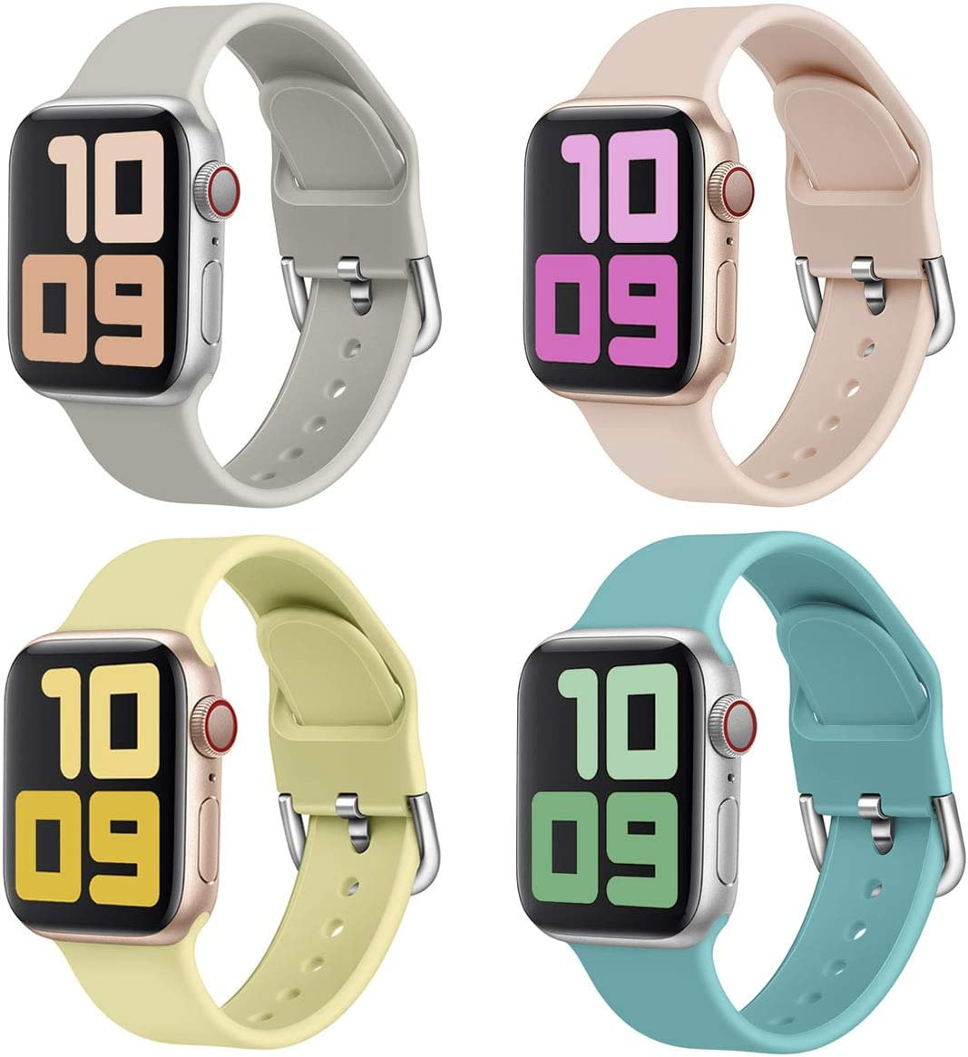 Graka Pack 4 Sport Band Compatible with Apple Watch Band 38mm 40mm 42mm 44mm Soft Silicone Strap Women Men Replacement for iWatch Series SE/6/5/4/3/2/1