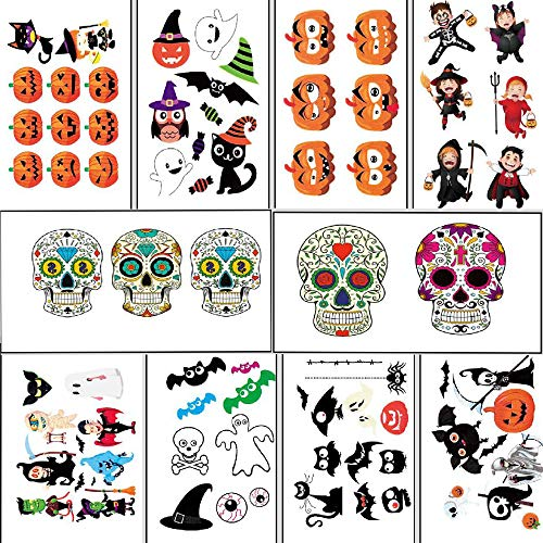 Halloween Tattoos for Kids,60+ Assorted Styles Party Supplies Pumpkin Bats Witch Monster Tattoos,Sugar Skull Tattoos,Halloween Party Accessory for Kids Adult