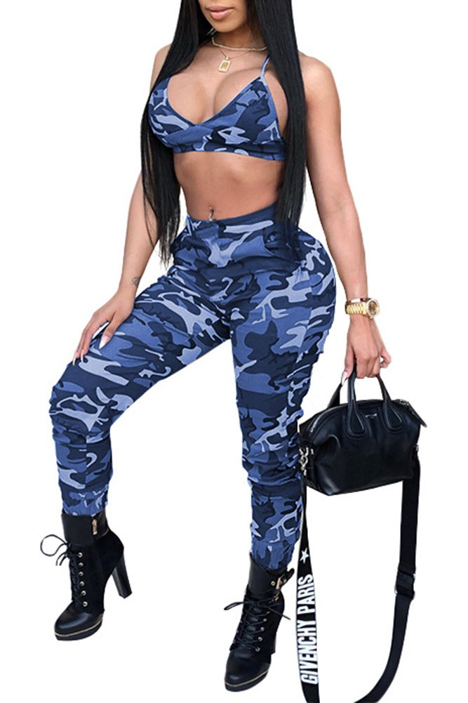 Rela Bota Women's Sexy Strap 2 Pieces Outfits Sports Set Camo Jumpsuits Crop Tops and Pants Set Small Blue