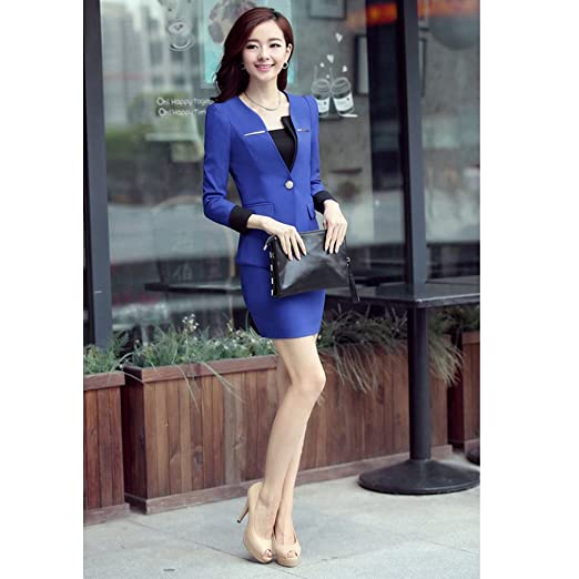 2e632442cfd Fashion Sexy Slim women Suiting Blazers Skirt Suits OL Korean Professional  package Lady Overalls dress (XL