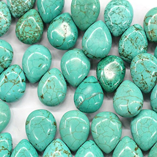 Natural Blue Turquoise Gemstones Loose Beads Findings Jewerlry Making (teardrop 13*18mm)